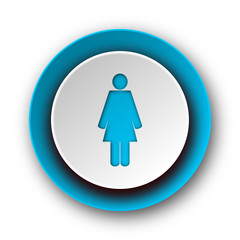 female blue modern web icon on white background