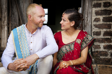Western couple getting married in India