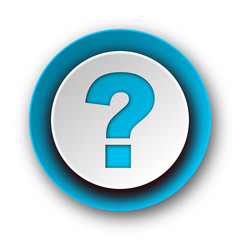 question mark blue modern web icon on white background