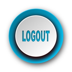 logout blue modern web icon on white background