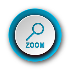 zoom blue modern web icon on white background