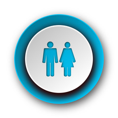 couple blue modern web icon on white background