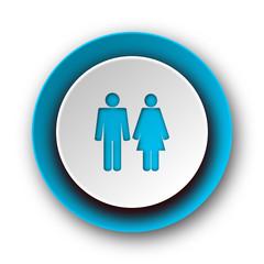 couple blue modern web icon on white background