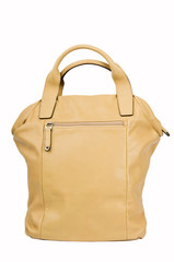 Dark yellow female leather handbag