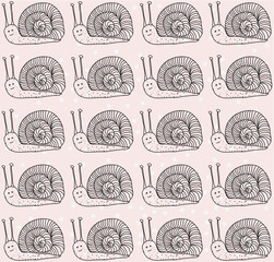 Cute snails in vector background for girls.