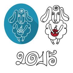 Cartoon outline sheep set.Symbol  Year