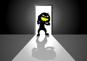 Cartoon illustration of pumpkin ghost in front of a door