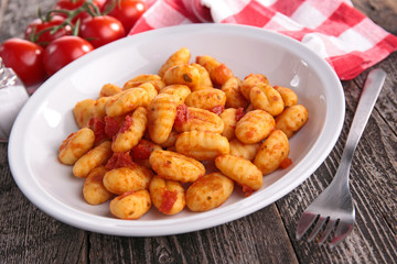 gnocchi cooked with tomato sauce