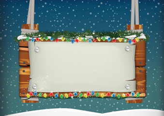 wooden signboard - christmas and new year