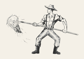 Sketch illustration of a farmer with a pitchfork collecting hay