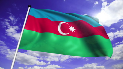 flag of Azerbaijan with fabric structure against a cloudy sky