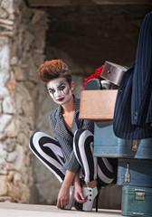 Clown Near Luggage