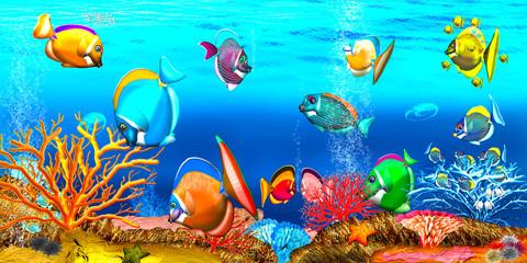 Korallenriff, Korallenfische. Illustration