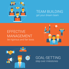 Team goal management concept flat icons banners template