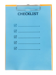 Checklist paper on clipboard isolate on white
