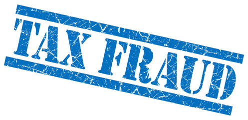 tax fraud blue square grunge textured isolated stamp