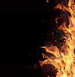 Fire flames on black background poster