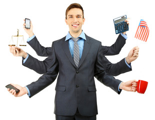 Portrait of young businessman with many hands, isolated on