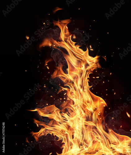 canvas print picture Fire flames on black background