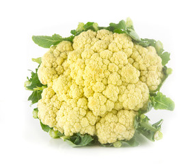Fresh cauliflower on white