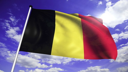 flag of Belgium with fabric structure against a cloudy sky
