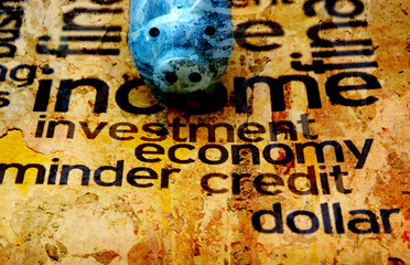 Piggy bank on investment word cloud