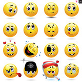 Fototapety Vector set of smiley icons
