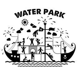 Aqua park flat vector illustration.