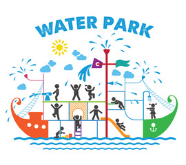 Aqua park flat vector illustration.