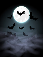 Scary Halloween Night with Bats