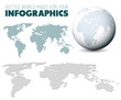 World map and globe for your infographics
