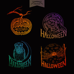 Halloween handdrawn engraving style labels set ghosts pumpkin
