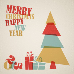 Retro Christmas card with christmas tree and gifts