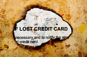 Lost credit card text on grunge background
