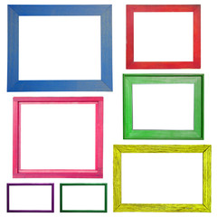 Wooden Colorful frame isolated on white background