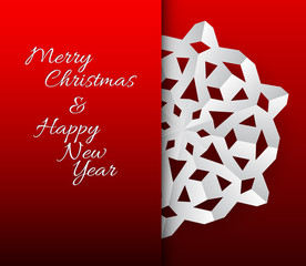 Vector card with white paper christmas snowflake