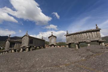 Ancient stone corn driers in Soajo, Portugal
