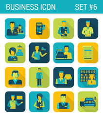 Business flat icons set businessman support office consultant