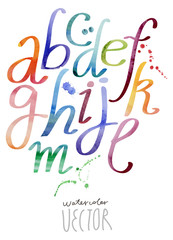 Watercolor alphabet vector