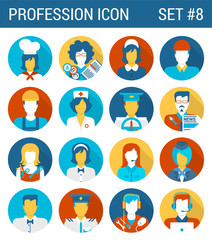 Professions flat icons set cook teacher governess builder doctor