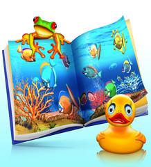 Korallenfische,Rotaugenfrosch, Buch, Kinderbuch, freigestellt