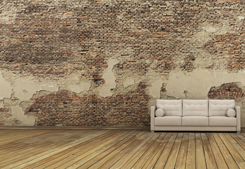 old wall and white sofa