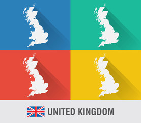 UK England world map in flat style with 4 colors.