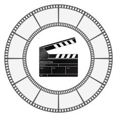 clapboard icon with film-strip round frame