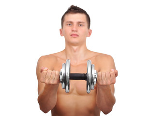 Muscular guy holding dumbbell