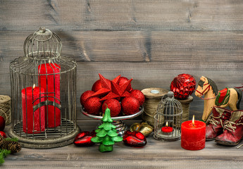 christmas decorations with red candles, baubles, stars and rocki