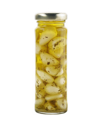 Glass Jar Of Garlic With Olive Oil