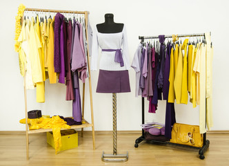 Wardrobe with complementary colors violet and yellow clothes.