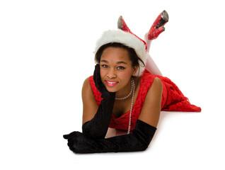 Smiling Woman in Red Santa Hat
