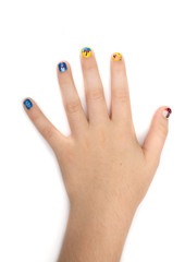 Creative fingernail painting with nail polish